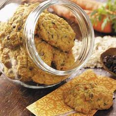 "Carrot Oatmeal Cookies Recipe -""I am always looking for tasty after-school and lunch box treats for my family. These carrot-flecked cookies my mom made when I was growing up now get a thumbs-up from my children."""
