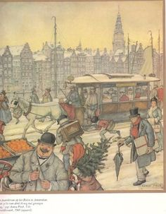 Anton Pieck Text on card The Horse Tram on the Rokin in Amsterdam I remember those trams fondly