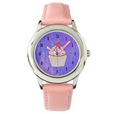Sweet Cupcake with Raspberry on Top Wrist Watch