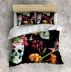 Tropical Watercolor Sugar Skull Bedding with by InkandRags