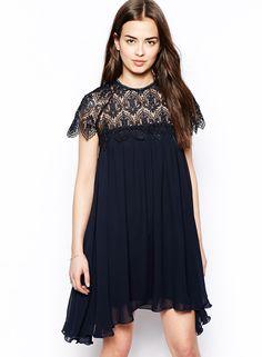 Vestido suelto encaje hueco-negro 15.39