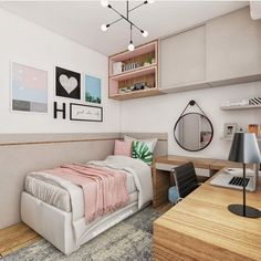 Inspiring innovations that we love! Tiny Bedroom Design, Teen Bedroom Designs, Bedroom Decor For Teen Girls, Small Room Design, Home Room Design, Room Ideas Bedroom, Small Room Bedroom, Small Rooms, Girl Bedrooms