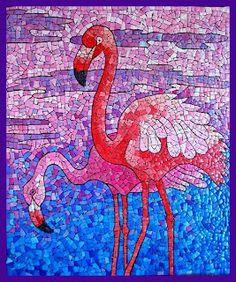 Flamingo mosaic made from egg shells