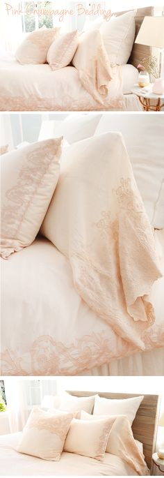 Pink Champagne Bedding from Pom Pom at Home! So sweet and romantic. Pink everything! Pink Bedroom Design, Pink Bedroom For Girls, Pink Bedrooms, Gold Bedroom, Bedroom Decor, Bedroom Ideas, Bedroom Stuff, Dream Bedroom, Bed Sheets Online