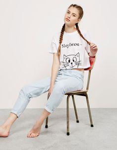BSK short sleeve oversize cat top - T- Shirts - Bershka Turkey