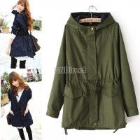 Shop out collection of women's coats and jackets. Cover yourself for all occasions with our coats Europe Fashion, New Fashion, Cute Coats, Jackets For Women, Clothes For Women, Green Jacket, Hooded Sweatshirts, Hooded Jacket, Windbreaker