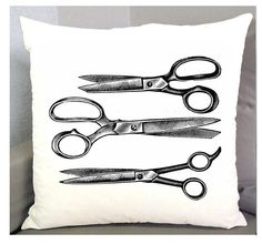 OLD SCISSORS Pillow cover - Exclusive Fabric 18in Pillow Cover Vintage