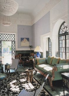 YSL's Marrakech house; Villa Oasis. Designed by Bill Willis & Jacques Grange.  A palette of blues and greens inspired by Henri Matisse graces the drawing room.