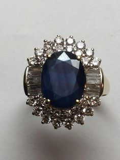 IGI Certified Vintage 14K Yellow Gold Natural Sapphire and Diamond Ring Size 9