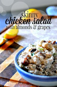 Skinny Chicken Salad with Almonds and Grapes ~ this healthy, flavorful salad comes together so quickly and it's guaranteed to be a hit with your entire family