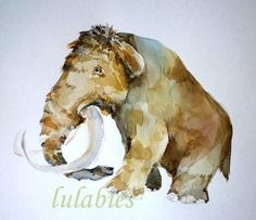 WOOLY MAMMOTH 11x9 original watercolor illustration