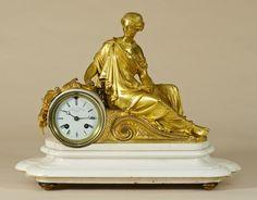 White Marble and Ormolu Mantel Clock.