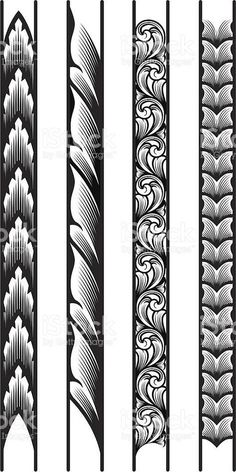 Designed by a hand engraver, these precisely drawn borders are constructed with each leaf or scroll segment on a seperate layer for easy manipulation. Make as long or short as you wish, and scale to. Engraving Tools, Metal Engraving, Body Art Tattoos, Sleeve Tattoos, Tribal Tattoos, Turtle Tattoos, Tattoo Maori, Thai Tattoo, Motif Art Deco