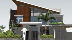 Facade Design, House Design, Shed Roof, Modelos 3d, 3d Warehouse, Mid-century Modern, House Plans, Villa, Exterior