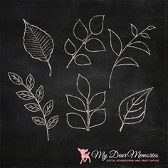 Chalk Leaves Clip Art, Spring Chalk Clip Art for by MyDearMemories, $5.00