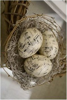 Music sheet paper applied to eggs. These could be threaded end to end and made into ornaments for the Christmas tree. (image only)