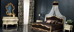 Having a small size home is no deterrent to enjoying opulent bedroom décor. You can buy rich looking furniture without worrying about your home size, Bedroom Doors, Bedroom Sets, Dream Bedroom, Rococo, Baroque, Victorian Bedroom, Victorian Furniture, Italian Interior Design, Bedroom Fireplace