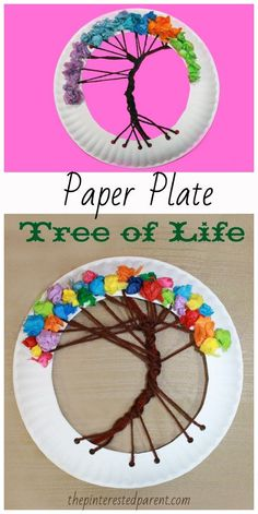 Paper Plate Tree of Life Lacing Craft. Arts and crafts for kids. Yarn and tissue paper #artsandcrafts