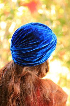 Turban in Royal Blue Crushed Velvet - Bohemian Fashion. $30.00, via Etsy.