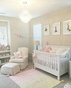 Girly pink blush nursery with chandelier ivory rocker and glider may 09 2017 at aloadofball Choice Image