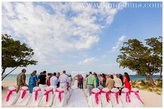 Pink and grey ceremony; Montego Bay Jamaica Destination Wedding at Iberostar Rose Hall Suites - Kate Timbers Photography