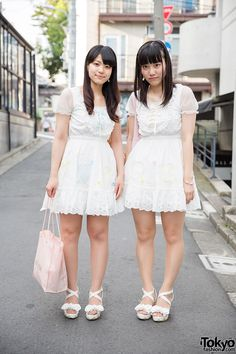 "We spotted these two girls wearing matching outfits (known as ""pair look"" in Japan) on the street in Harajuku. We found out that they're both 19 years old and they are fans of the Japanese fashion brand Liz Lisa. (Tokyo Fashion, 2014)"