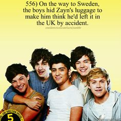 On the way to Sweden, the boys hid Zayn's luggage to make him think he left it in the UK by accident