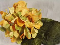 New Velvet Hydrangeas Yellow Gold Green Velvet Leaves Millinery Flower Crown Wedding Crafts Bridal Bouquets Arrangements Decoration - pinned by pin4etsy.com
