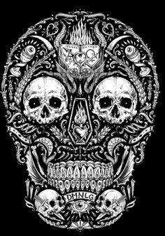 Few examples of my last designs. Skull Coloring Pages, Adult Coloring Book Pages, Sugar Skull Tattoos, Sugar Skull Art, Skull Design, Mask Design, Tank Tattoo, Badass Skulls, Apocalypse Art
