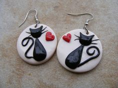 Items similar to Black Cats in Love Polymer Clay Earrings on Etsy Polymer Clay Cat, Polymer Clay Animals, Polymer Clay Projects, Polymer Clay Charms, Polymer Clay Creations, Polymer Clay Earrings, Clay Crafts, Clay Design, Clay Beads