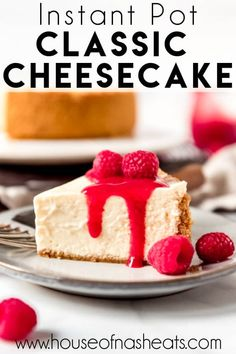 This classic, creamy Instant Pot Cheesecake recipe is always a winner and completely foolproof! A perfect graham cracker crust with a smooth, rich cream cheese filling is perfect plain or topped with raspberry sauce, cherries, or sliced strawberries! Instant Pot Cheesecake Recipe, Cheesecake Recipes, Dessert Recipes, Desserts, Cupcake Recipes, Cream Cheese Recipes, Cream Cheese Filling, Cake With Cream Cheese, Homemade Cake Recipes