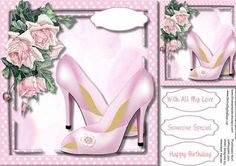 Beautiful Pink Shoes and French Roses on Craftsuprint - Add To Basket!