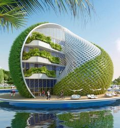 "30 Amazing Green Building Architecture Design Ideas - The latest trend in new home construction is ""green building"". Most people equate green building with efficient or renewable materials. Unique Architecture, Futuristic Architecture, Sustainable Architecture, Building Architecture, Architecture Building Design, Pavilion Architecture, Victorian Architecture, Concept Architecture, Residential Architecture"