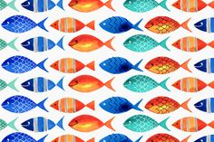 Margaret Berg Art: Blue+&+Red+Fishies+