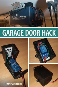Hack your garage door so you can open it with a remote control or your phone. Diy Electronics, Electronics Projects, Garage Door Opener, Garage Doors, Esp8266 Arduino, Arduino Wifi, Projets Raspberry Pi, Garage Door Maintenance, Home Automation Project