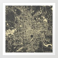 Minneapolis Map Art Print by Map Map Maps - $18.00 ----------------------------If you like my work, you can folllow my Facebook accournt : https://www.facebook.com/MapMapMaps?ref_type=bookmark