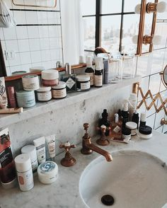 Rustic, natural-looking bathroom.
