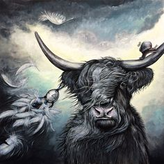 The Dream catcher - Original acrylic artwork, highland cow, snail, feathers…