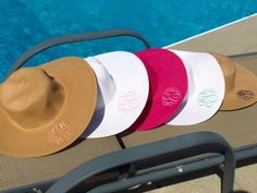 Pretty sun hats! Monograms in over 50 different fonts! Lots of thread and hat color options! Perfect for the beach this summer!