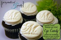 Personalized Food Safe Acrylic Stamp - For Fondant, Cupcakes, Brides, Birthday and Cake Toppers - Really Cute Idea! $40 by babyjewels - wedding monograms initials baby showers etc