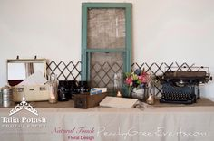 Arlington Gallery Winnipeg Guest Book Table with Rented Vintage Typewriter and Decor from Peachy Green Events Wedding Events, Weddings, Guest Book Table, Vintage Typewriters, Event Photos, Furnitures, This Is Us, Rustic, Gallery