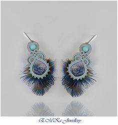 Hand made soutache earrings Magic Feather in boho style