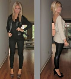 Already pinned the outfit on the right, but the left is super cute- looks like leopard wedges, black skinnies, blank tank and a leather jacket.
