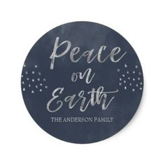 Peace on Earth Blue and Silver Watercolor Photo Classic Round Sticker - elegant gifts gift ideas custom presents