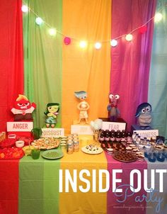 Inside Out Emotions Party. Fun food ideas, decorations, favors, #printable games. #ad #cbias #InsideOutEmotions #DisneyPixar