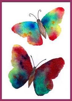 Motýl, vážka – lepidlo, sůl a barvy Insects