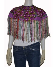 Fringe shawl, Embroidered cape, Colorful shawl, Guatemalan huipil, Handwoven vintage poncho, Gypsy Floral embroidered clothing, 80's shawl