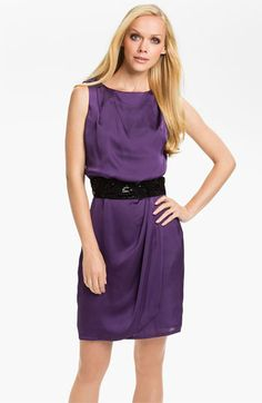 Vince Camuto Sequin Belted Charmeuse Dress available at #Nordstrom
