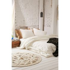 Magical Thinking Pom-Fringe Duvet Cover ($89) ❤ liked on Polyvore featuring home, bed & bath, bedding, duvet covers, ivory, twin xl duvet insert, ivory bedding, cotton bedding, twin xl bedding and off white bedding