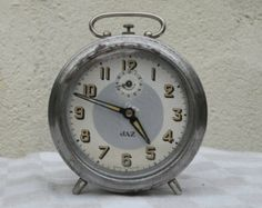 French Vintage Alarm Clock, old chrome clock, Vintage JAZ clock, French vintage clock circa 1930s, art deco clock